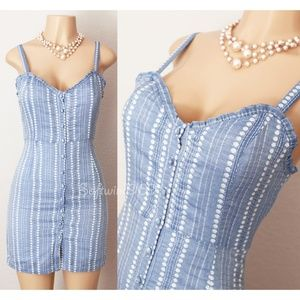 Light Blue Striped Button Cotton Cute Fitted Dress